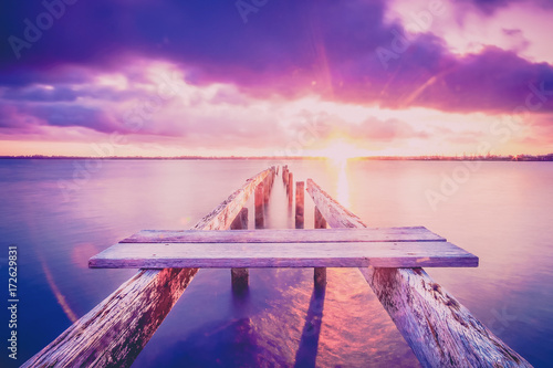 Foto op Aluminium Snoeien Cleveland jetty at sunset