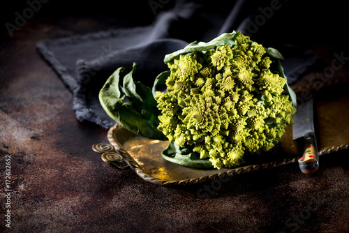 Romanesco broccoli cabbage on a metal old tray