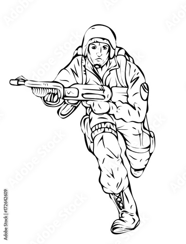 Cartoon Army Soldier Running With Gun Drawing Vector Buy This