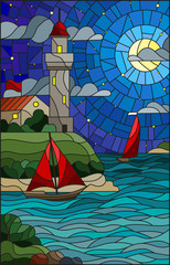 Obraz na SzkleIllustration in stained glass style with sea view, three ships and a shore with a lighthouse in the background of starry night cloud , moon and sea