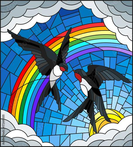 ilustracja-w-stylu-witrazu-z-para-jaskolek-na-tle-nieba-slonca-chmur-i-teczy