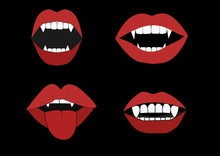 Red Vampire Lips With Fangs On Black Background