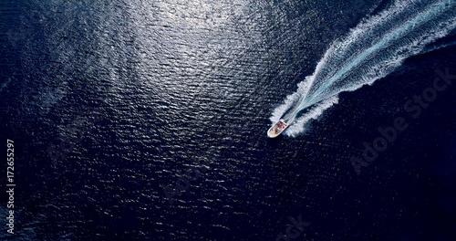 Fotomural sillage de bateaux en mer, espagne