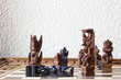 Chess of Bali, Indonesia. The good and evil characters of the Balinese epic are made from ebony and palm roots.