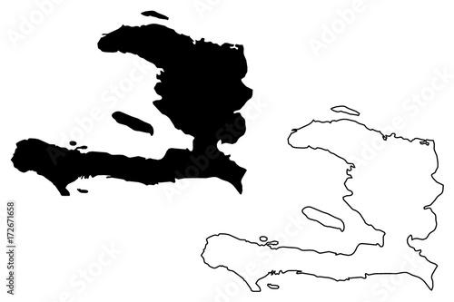 Fotografia Haiti map vector illustration, scribble sketch Haiti