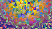 Multicolored Pink And Blue Polygonal Kaleidoscope Abstract Background, Cover, Consisting Of A Structure Of Triangles. Texture, Background In Mosaic Style And Origami.