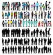 silhouette people in colored clothes, vector, family, group of people, collection