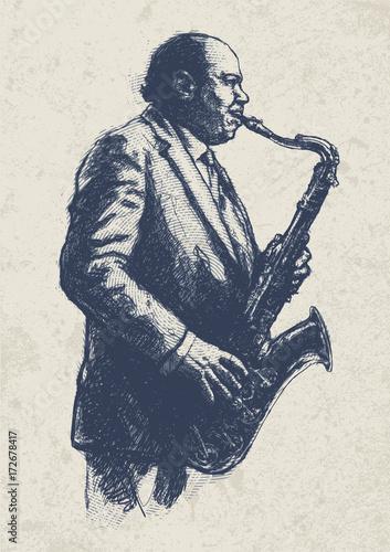 Jazz musician. drawing style Wallpaper Mural