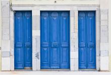 Old Blue Painted Wooden Door
