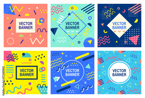 Pop Art Memphis style banner templates collection