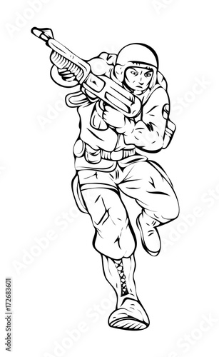 Cartoon Soldier with Gun Vector Drawing - Buy this stock