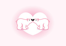 Polar Bear Couple Against Whit...
