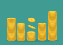 Stacks Of Gold Coin Icon. Diagram Shape. Cash Money. Dollar Sign Symbol. Going Up Graph. Income And Profits. Growing Business Concept. Green Background. Isolated. Flat Design.
