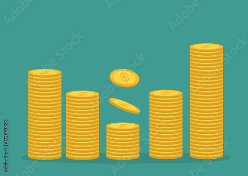 Fotografia, Obraz  Stacks of gold coin icon