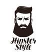 Hipster style. Portrait of bearded man, logo or label. Lettering vector illustration