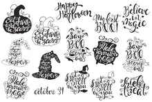 Set With Halloween Labels With Hand Drawn Vector Illustrations And Quotes