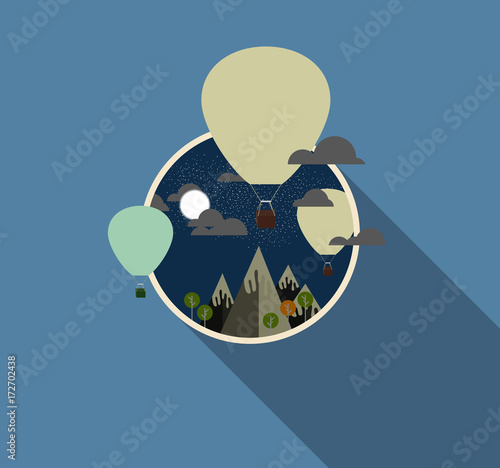 In de dag Ballon Air balloon flying over the mountain Icons of traveling. Travel background illustration.