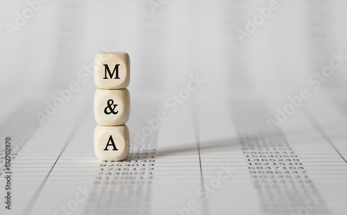 Word M AND A made with wood building blocks Wallpaper Mural