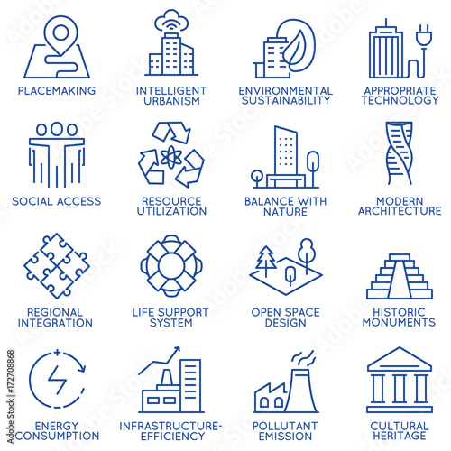 Obraz Vector set of thin linear 16 icons related to technology for intelligent urbanism, smart city and urban development. Mono line pictograms and infographics design elements - part 1 - fototapety do salonu