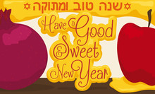 Delicious Pomegranate, Apple And Honey For Jewish New Year Celebration, Vector Illustration