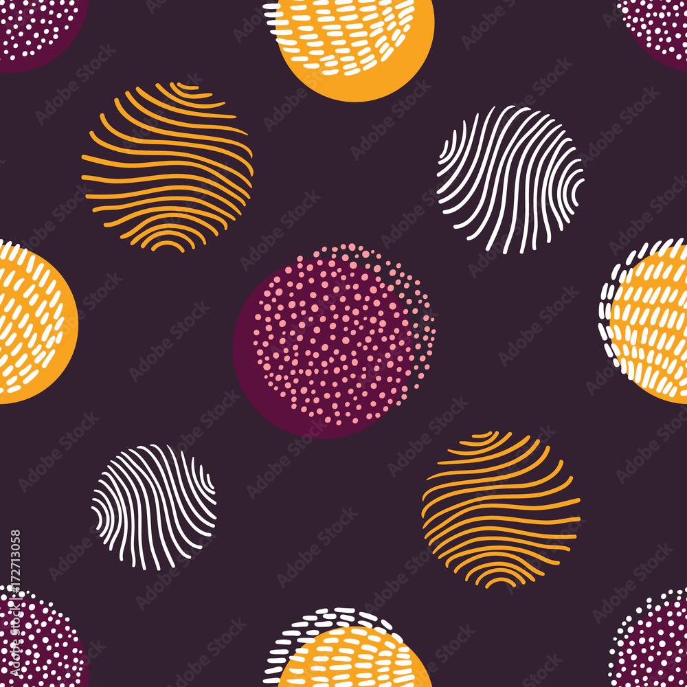 Hand drawn stylish modern dark seamless abstract pattern, scandinavian design style. Vector illustration