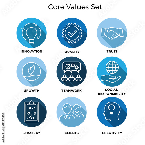 Fototapeta Core Values - Mission, integrity value icon set with vision, honesty, passion, and collaboration as the goal or focus obraz