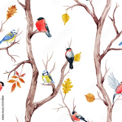 upadek-drzew-i-ptakow-wektor-wzor