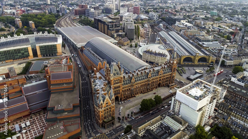 Aerial View of Iconic Architecture and Landmark Kings Cross and St Pancras Railway Stations in London, UK