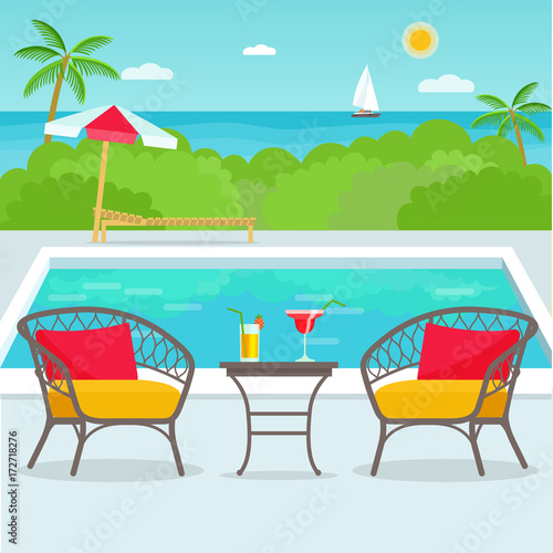 Spoed Foto op Canvas Turkoois Hotel swimming pool bar, restaurant furniture chairs and table. Vector flat illustration.