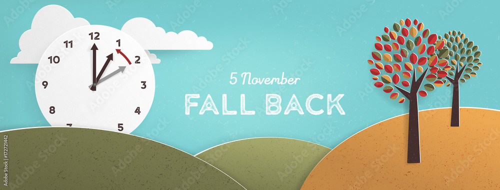 Fototapety, obrazy: Day Light Savings Time End, remember to Fall Back Vector Illustration with textures and Vintage feel, US Date
