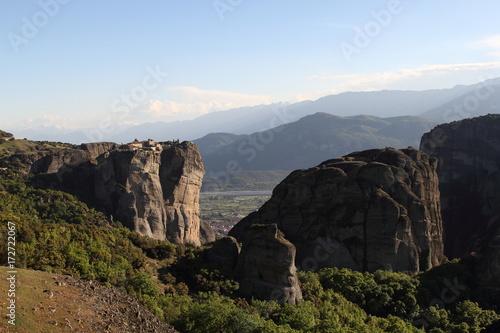 Spoed Foto op Canvas Cappuccino Meteora in Greece, 2017