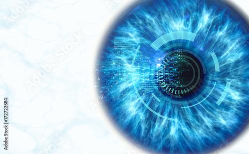 In de dag Iris Human iris scan, 3d render
