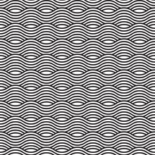 Black And White Seamless Wave Pattern, Linear Design. Vector Illustration