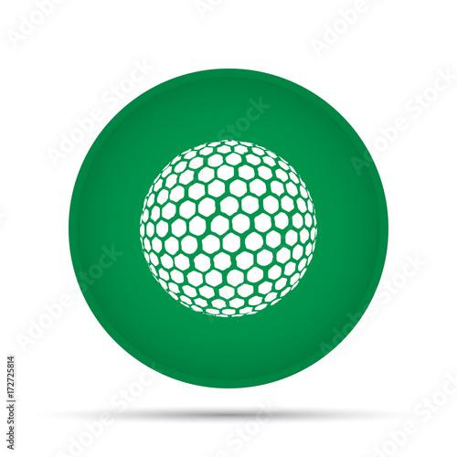 Valokuva  Golf ball icon on a circle on a white background