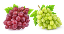 Red And Green Grape With Leave...