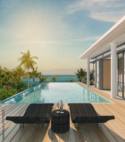 Sea view swimming pool in modern loft design,Luxury ocean Beach house Wall mural