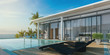 Leinwanddruck Bild - Sea view swimming pool in modern loft design,Luxury ocean Beach house