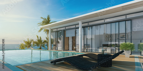 Fotografiet  Sea view swimming pool in modern loft design,Luxury ocean Beach house