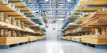 Warehouse With Variety Of Timb...