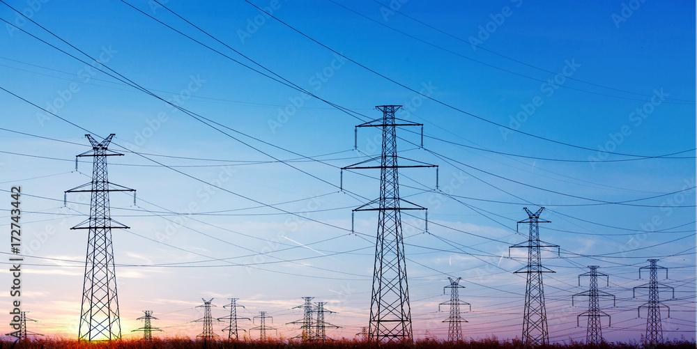 Fototapeta Power Line at the Blue Sky