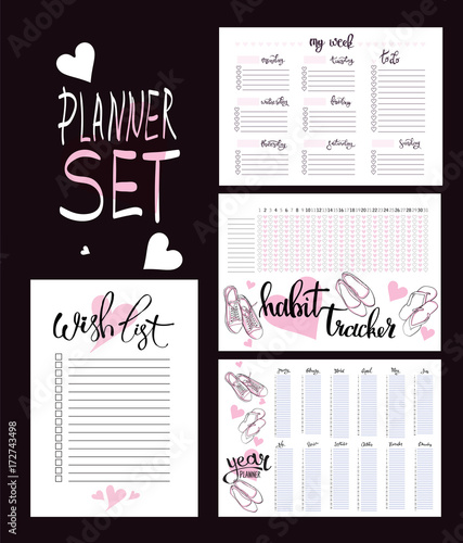 Photo  set: habit tracker, wish list,weekly and year planner