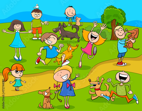 cartoon kids with dogs in the park