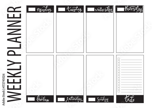 Photo  weekly planner blank template
