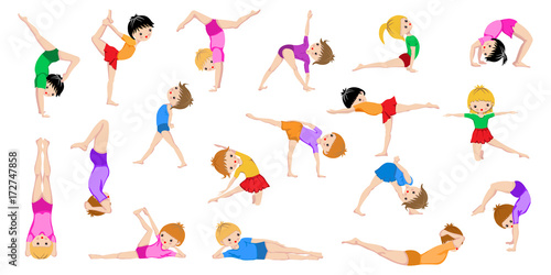Healthy Kids Yoga Poses Gymnastics Healthy Lifestyle Yoga Children Workout Set Sport Asana Isolated On White Background Gym Sketch Exercices Poster Buy This Stock Vector And Explore Similar Vectors At Adobe