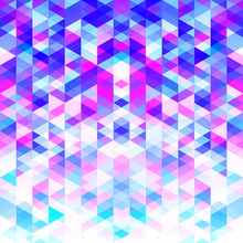 Abstract Pattern Of Colorful Triangles. Bright Cold Color Shades.