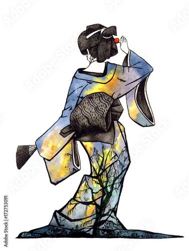 akwarela-gejsza-w-kimonie