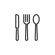 Thin Line Cutlery Icon On Whit...