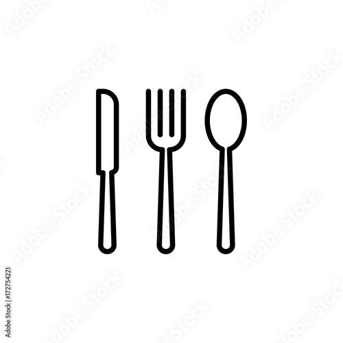 Fototapeta thin line cutlery icon on white background obraz