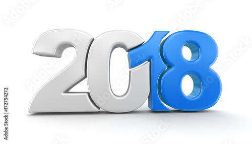 New Year 2018. Image with clipping path. Wallpaper Mural