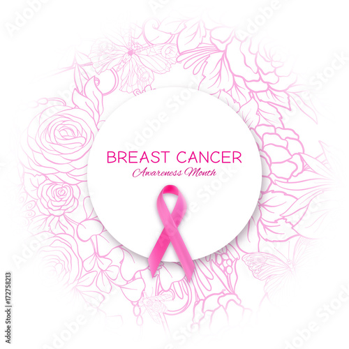 Breast Cancer Awareness Month Poster With Pink Ribbon And Floral